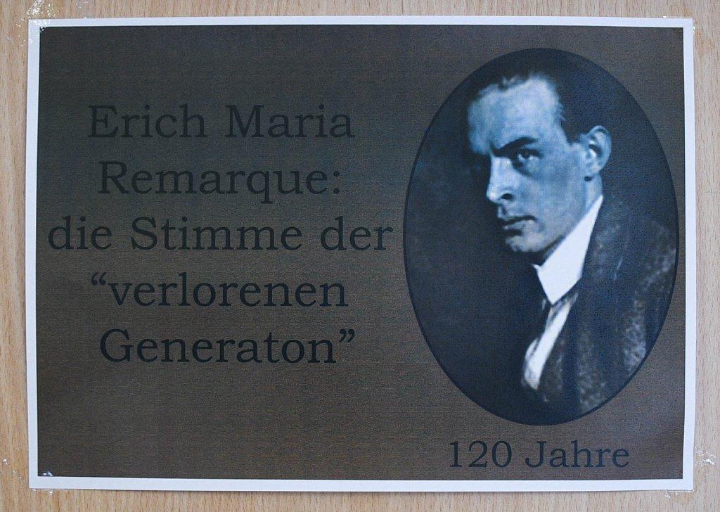"""9.06 / 30.06.2018 Книжная выставка «Erich Maria Remarque: Stimme der """"verlorenen Generation""""»"""